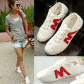 Promotion 2013 M word w red casual comfortable canvas shoes lacing flat sport cotton-made size 35-39 summer sneakers shoes 818