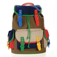 2013 backpack color block vintage canvas bag double sided bags women's handbag student bag multi school bag