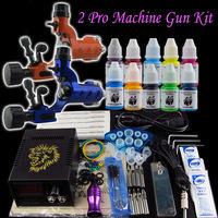 Tattoo Kit 2 Dragonfly Machine Gun Power Supply Foot Pedal Needle Numb Grip inks (M631-4+M631-7)
