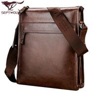 SEPTWOLVES man vintage man genuine cowhide leather business casual messenger bag coffee