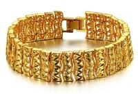 fashion bracelet jewelry,18k yellow gold 17mm 19cm wide twist bracelet bangle for men free shipping (min order $15)