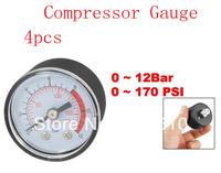 Air Compressor Round Case 10mm Male Thread 0-170PSI 12 Bar Pressure Gauge 4pcs