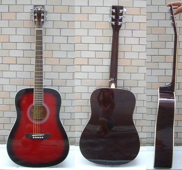 Please consult a stock before payment 41 big piano box wood guitar red acoustic guitar(China (Mainland))