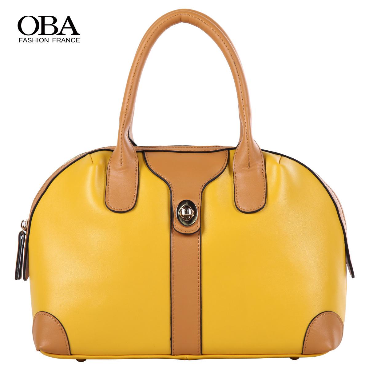 Oba women's handbag 2013 crescent moon bag formal color block leather bag messenger bag cosmetic bag 2198(China (Mainland))