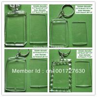 acrylic blank photo keychain keyring,diy yourself photo keychain,4 kinds rectangle pattern Wholesale - free shipping