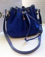 Frees hipping tassel scrub bucket bag, drawstring opening shoulder cross body bag messenger bags
