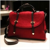 Frees hipping 2013 women's spring handbag, fashion vintage double woolen one shoulder handbag, cross-body women's handbag,