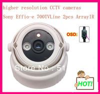 "Wholesale 1/3"" Sony Effio-e 700TVL  2pcs Array IR leds OSD Menu indoor plastic dome CCTV Camera free shipping !!!"