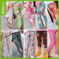 2014 5PCS/LOT Wholesale Summer Cotton Leggings Fashion Children Print Colorful Denim Trousers Girls Printing Flower Pants