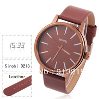 Sinobi Men's Quartz Brown Leather Watch with Noctilucent Analog Numerals & Dots Indicate Time Golden Case