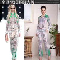 2013o t print long-sleeve top trousers casual set silk twinset