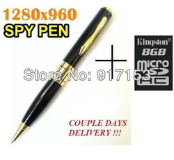 Mini Pen HD Video Hidden Camera + 8GB Micro SD Card Camcorder 1280 X 960 DVR free shipping +Tracking Number(China (Mainland))