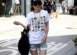 2013 Korean Style short-sleeve summer women t-shirt o-neck cartoon print sport wear Tops Free shipping(China (Mainland))