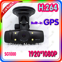 Free Shipping GS1000 Car DVR with GPS logger(or without GPS) and G-Sensor car camera FULL HD1920X1080P30fps H.264