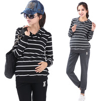 Maternity clothing spring maternity casual 100% cotton sports set stripe sweatshirt set