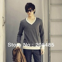 2013  Spring explosion models fashion men's Slim lift  t shirts with button,Quality V-Neck Mens long sleeve t -shirt 6color