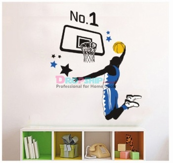 48252 No1 basketball sports Series Fees shipping Removable PVC Wall Stickers Mural For Kids Room Shop Party Home Decor