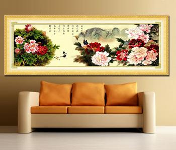 Print cross stitch silk 100% 2 meters rich peony js9244
