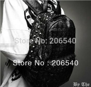 Western Punk Skull PU Leather Women Backpack Shoulders Book School Bag Men Women