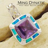 Purple Amethyst Pacific Blue Fire Opal Silver Fashion  Jewelry Women & Men Pendant OP634LA  Wholesale & Retail