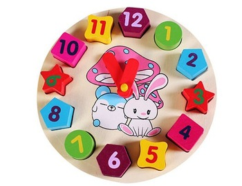 Free Shipping 2013 Hot Kids Early Education Fashiong Cartoon Animal  3d Wooden puzzle Digital Shape Toy Clocks