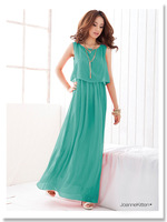 chiffon bohemia pink black green grey sleeveless plus size casual beach long dress women dresses new fashion 2014 summer