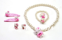 Free shipping Cute Hello Kitty Children Jewelry(5pc/set) Set as gift 60set/lot & Girls' accessories-N22