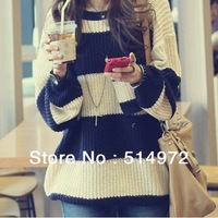 Best selling!!2013spring Stripe color matching Women's Sweaters Medium style ladies knitted female cloth free shipping