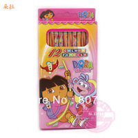 Free shipping cute cartoon images of colored pencils 12 color Dora Children 's Gifts school supplies prizes