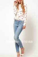 NEW ARRIVAL!2013 spring new shirt with red lips pattern brand long sleeves p.o.l.o turn-down collar for ladies sexy women shirt