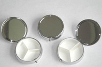 Wholesale 50Pcs Silver Blank Pill boxes DIY Medicine Organizer Container Case  3 Compartments -Free Shipping