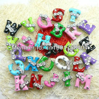 8mm Wholesale with one rhinestone Colorful Bowknot Slide letters 1300pcs A to Z DIY Alphabets Charms Fit Wristband or Pet collar