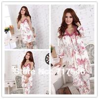 free shipping 100% cotton spring and autumn sleepwear women's long-sleeve sleepwear pajama 3pcs