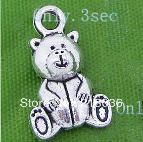 Wholesale  Fashion 200 Pcs Metal Tibetan Silver Teddy Bear Charms Pendants Beads  DIY Making Jewelry  5mmx10mmx 16mm  B1065