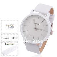 Sinobi Men's Quartz WhiteLeather Watch with Noctilucent Analog Numerals & Dots Indicate Time