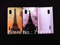 1pcs/lot free ship retro Old Paris LA Tour Eiffel Tower hard Case Cover For LG E610 Optimus L5+1pcs film