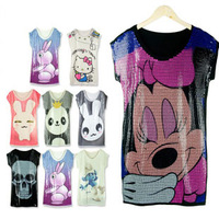2013 summer MICKEY MINNIE loose cartoon paillette medium-long plus size clothing T-shirt short-sleeve dress basic skirt