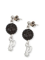 free shipping,metal newest design sports black  shamballa beadthe SAN Antonio spurs   earring
