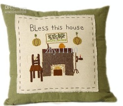 Wholesale - Free shipping 100%cotton Pillow Cover Cushion Cover hand made apliques and embroidery bless hoouse T016(China (Mainland))