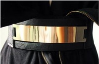 Hot-selling endurably mirror metal tablets ultra wide elastic waist belt beige Black