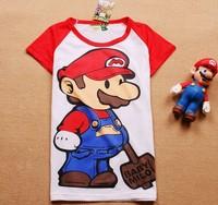 Free shipping women red mario short-sleeve 100% cotton t-shirt lady t shirt