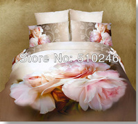 free shipping oil painting 4pcs cotton 3D white pink flower active printed bedroom bedlinen duvet cover set bedding set
