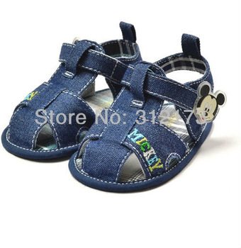 FREE SHIPPING---baby sandals infant boys girls jean cloth shoes summer sandals cartoon shoes mouse design soft soles 1pcs 0309-8