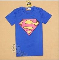 Super man logo women's short-sleeve 100% cotton t-shirt lady t shirt
