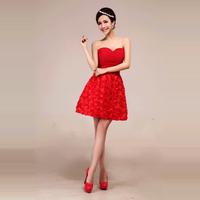2013 red married short design bride dress evening dress flower dress the performance bridesmaid formal dress