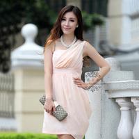 Autumn one shoulder tube top bridesmaid dress slim hip short dress design dress one-piece dress formal dress