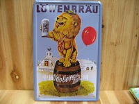 free shipping, Metal painting decoration tiepai vintage lowenbrau
