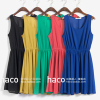 Fashion vintage engraved classic solid color chiffon vest one-piece dress slim waist