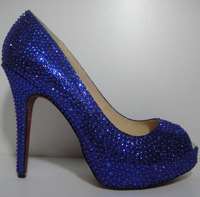 9cm/12cm new arrive pumps royal blue rhinestone high heel shoes woman wedges shoes high heels crystal wedding red bottom shoes