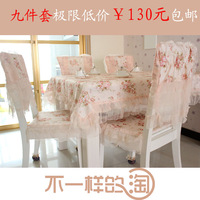 HOT! Factory price Table cloth dining table cloth tablecloth cushion chair cover rustic romantic lace cloth set Free Shipping
